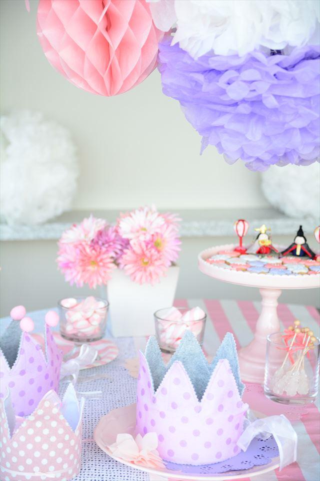 ピンクとパープルのひなまつりデコレーション : Pink + Purple Hinamatsuri Decoration