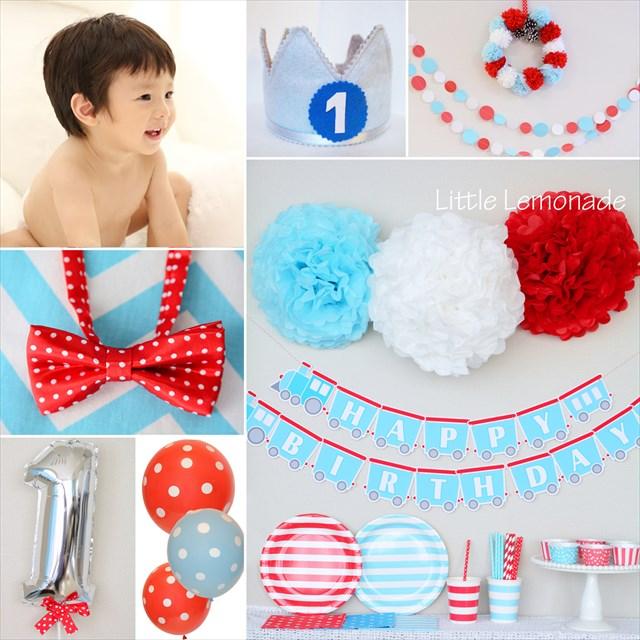 男の子のファーストバースデイデコレーション_red+blue_birthdayplan
