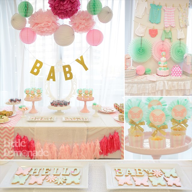 ピンクとミントのベビーシャワー : Pink x Mint Butterfly Themed Baby Shower