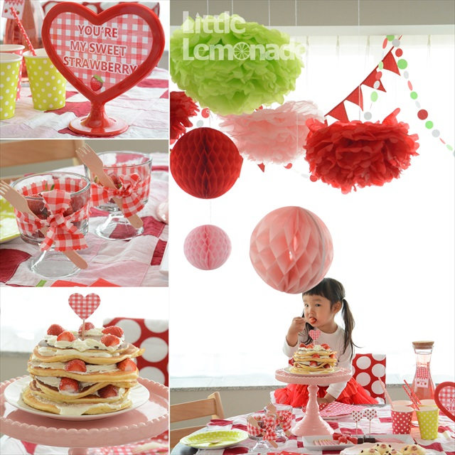 いちごのお誕生日パーティー : Strawberry Themed 4th Birthday Party