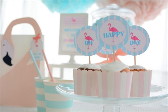 カップケーキ_フラミンゴパーティー