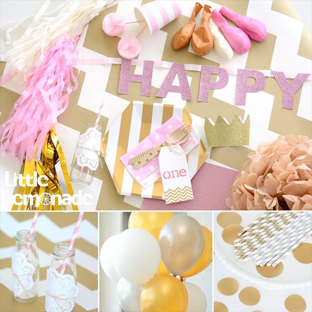 ゴールド+ピンク コーディネートのファーストバースデイパーティープランニング : Gold x Pink First Birthday Party