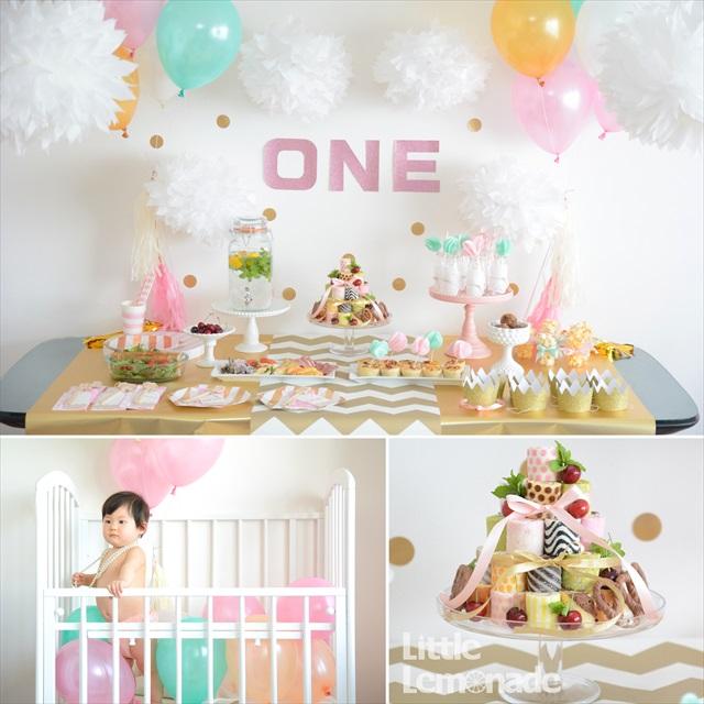ゴールド x ピンクのファーストバースデー パーティーレポート : Gold x Pink First Birthday Report
