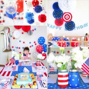 アメリカ テーマのファーストバースデイ : USA Themed First Birthday Party