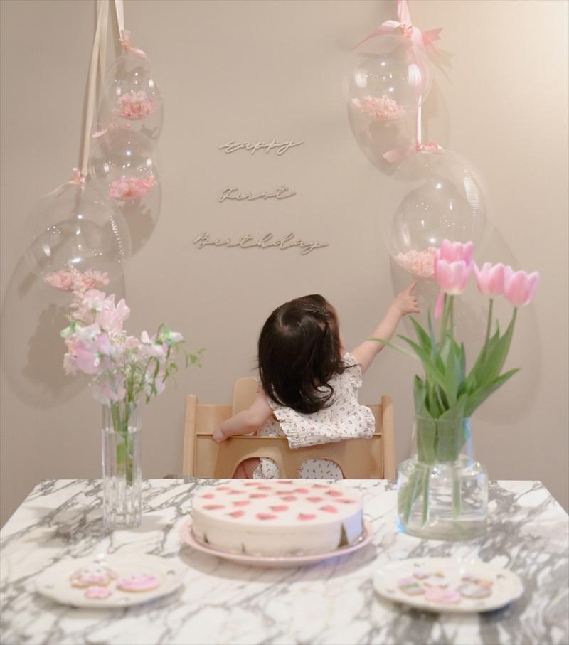 桜テーマのファーストバースデイ : おうちスタジオ&ケーキスマッシュ Sakura First Birthday